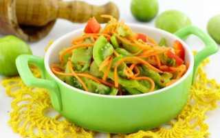 Заготовка на зиму из зеленых помидор дольками по-корейски: рецепт вкусного салата пошаговый с фото
